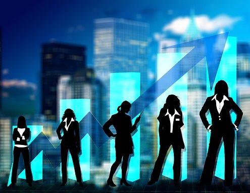 Menschen auf der Karriereleiter im bildlichen Sinne